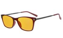 Computer Reading Glasses 97% Blue Blocking Anti Glare Full-frame Dark Orange Lens Red DSDT1793