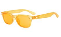 Computer Reading Glasses Blue Blocking Anti Reflective Dark Orange Lenses Yellow DS148