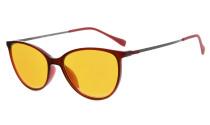 Computer Reading Glasses 97% Blue Light Blocking Anti UV Cat eye Style Dark Orange Lens Red DSDT1785