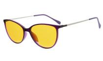 Computer Reading Glasses 97% Blue Light Blocking Anti UV Cat eye Style Dark Orange Lens Purple DSDT1785
