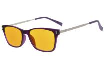 Computer Reading Glasses 97% Blue Blocking Anti Glare Full-frame Dark Orange Lens Purple DSDT1793