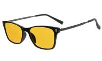 Computer Reading Glasses 97% Blue Blocking Anti Glare Full-frame Dark Orange Lens Black DSDT1793