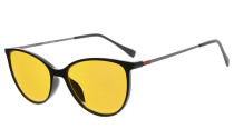 Computer Reading Glasses 97% Blue Light Blocking Anti UV Cat eye Style Dark Orange Lens Black DSDT1785