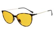 Computer Reading Glasses 97% Blue Light Blocking Anti UV Cat eye Style Dark Orange Lens Tortoise DSDT1785