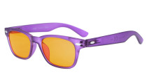Computer Reading Glasses Blue Blocking Anti Reflective Dark Orange Lenses Purple DS148