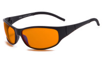 Blue Blocking Amber Glasses for Sleep - Nighttime Eye Wear - Special Orange Tinted Glasses Help You Sleep and Relax Your Eyes Black DSS080