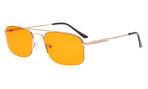 Computer Reading Glasses Block 97% Blue Light Flexible Memory Titanium Arms Orange Tinted Lens Gold DS1706
