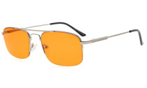 Computer Reading Glasses Block 97% Blue Light Flexible Memory Titanium Arms Orange Tinted Lens Silver DS1706