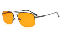Computer Reading Glasses Block 97% Blue Light Flexible Memory Titanium Arms Orange Tinted Lens Gunmetal DS1706