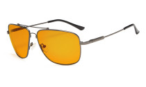 Computer Glasses Square Memory Frame for Sleep-Nighttime Orange Tinted Blue Blocking Gunmetal DS1801