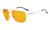 Computer Glasses Square Memory Frame for Sleep-Nighttime Orange Tinted Blue Blocking Gold DS1801