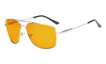 Computer Glasses Square Memory Frame for Sleep-Nighttime Orange Tinted Blue Blocking Silver DS1801