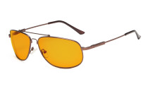 Computer Glasses Blue Blocking for Sleep-Nighttime Memory Frame Orange Tinted Brown DS1803