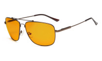 Computer Glasses Square Memory Frame for Sleep-Nighttime Orange Tinted Blue Blocking Brown DS1801