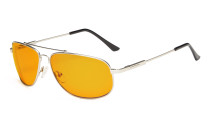 Computer Glasses Blue Blocking for Sleep-Nighttime Memory Frame Orange Tinted Silver DS1803