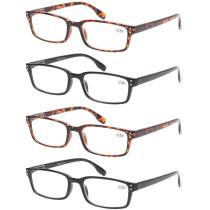 Reading Glasses 4 Pack Spring Hinge Comfort Readers