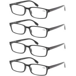 Reading Glasses 4 Pack Spring Hinge Comfort Readers Black