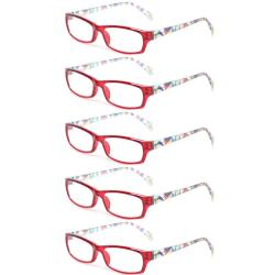 Reading Glasses 5 Pairs Fashion Ladies Readers Spring Hinge with Pattern Print Eyeglasses for Women Red