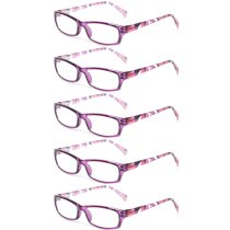Reading Glasses 5 Pairs Fashion Ladies Readers Spring Hinge with Pattern Print Eyeglasses for Women Purple