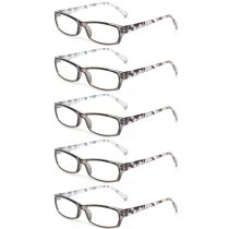 Reading Glasses 5 Pairs Fashion Ladies Readers Spring Hinge with Pattern Print Eyeglasses for Women Grey