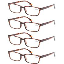 Reading Glasses 4 Pack Spring Hinge Comfort Readers Tortoise