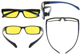 Computer Reading Glasses Anti Blue Light More than 94% TR90 Frame Yellow Tinted Lens Black Blue CGXM02