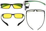 Computer Reading Glasses Anti Blue Light More than 94% TR90 Frame Yellow Tinted Lens Black Green CGXM02