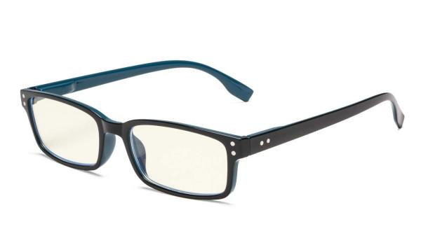 Computer Reading Glasses UV Spring-Hinges Tinted Lens Black Blue CG097
