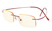 Computer Reading Glasses UV Titanium Rimless Stylish Readers Red CG1508