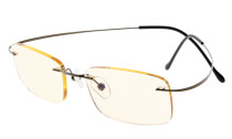 Computer Reading Glasses UV Titanium Rimless Stylish Readers Gunmetal CG1508