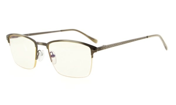 Computer Reading Glasses Half-rim Metal Frame UV Spring Hinge Women Men Gunmetal CG15046