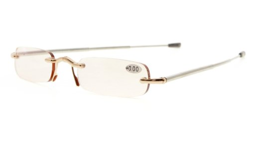 Computer Reading Glasses Folding Rimless with Telescopic Arm Spring Hinge Gold CG15081
