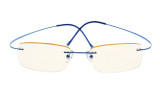 Computer Reading Glasses UV Titanium Rimless Stylish Readers Blue CG1508