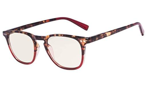 Fashion Reading Glasses with UV Protection Amber Tinted Lens DEMI-Red CG179