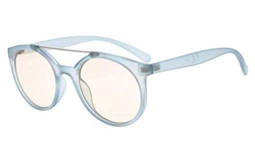 Computer Reading Glasses UV Protection Anti Glare Round Stylish Frame Tinted Lens Women Blue CGS054