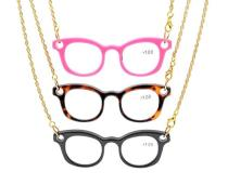 3 Pairs Mix Mini Readers Necklace Reading Glasses NR001-Mix-3pcs