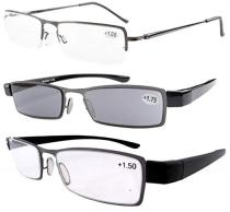 Reading Glasses 3-Pack Classic rectangular Half-rim with Spring Hinge Temples Readers R-19-3 pairs mix
