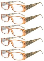 Reading Glasses tiger patterned rectangular Design with Spring Hinges 5-Pack Readers Women Brown R006A