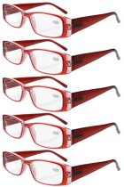 Reading Glasses 5-Pack Classic Rectangular Design with Spring Hinges Readers Women Red R006-5pcs