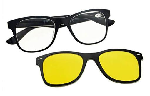 Reading Glasses With Blue light blocking Photochromic Polarized Lens Sun Clip Black-Transparent BSR135