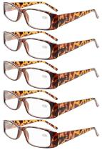Reading Glasses 5-Pack Classic Rectangular Design with Spring Hinges Readers Women Tortoise R006-5pcs