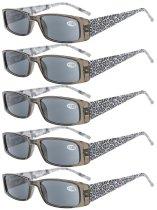 Reading Glasses tiger patterned rectangular Design with Spring Hinges 5-Pack Readers Women Grey Lens R006A