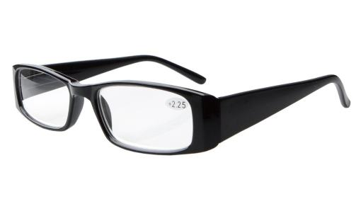 Reading Glasses Classic Rectangular Design Frame with Spring Hinges Sunshine Readers Black R006