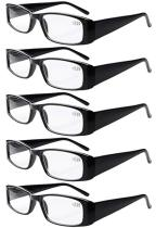 Reading Glasses 5-Pack Classic Rectangular Design with Spring Hinges Readers Women Black R006-5pcs
