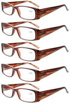 Reading Glasses 5-Pack Classic Rectangular Design with Spring Hinges Readers Women Brown R006-5pcs