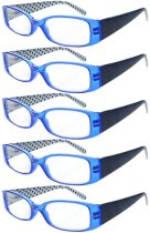 Reading Glasses Quality Spring Hinges Arms with Polka Dots Patterned Readers for Women Blue R040P-5pc