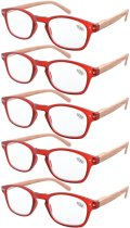 Reading Glasses 5-pack Bamboo Pattern Temples with Quality Spring Hinges Readers Red R034-5pcs