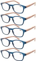 Reading Glasses 5-pack Bamboo Pattern Temples with Quality Spring Hinges Readers Blue R034-5pcs