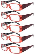 Reading Glasses Quality Spring Hinges Arms with Polka Dots Patterned Readers for Women Red R040P-5pc