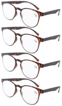 Reading Glasses 4-Pack Quality TR-90 Flexable Frame Tortoise R060-4pcs